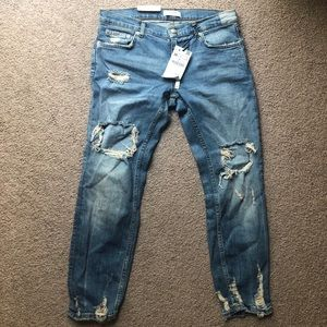Zara, distressed cigarette jeans size 38